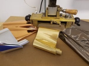 Foil Stamping Colors in Gold, Silver, Copper or Gun Metal completes a Bible rebinding and bible personalization